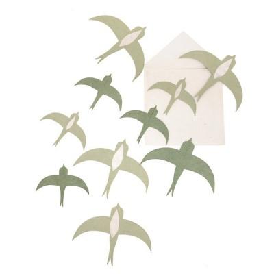 Andorinhas em papel Lokta, verde