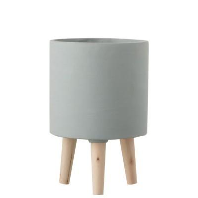Vaso Poti, cimento/madeira, gris, Ø20x30