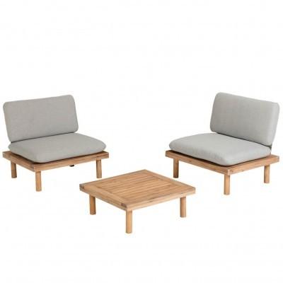Conjunto Virdis, 2x cadeirões, 1x mesa, madeira de acácia, cinza