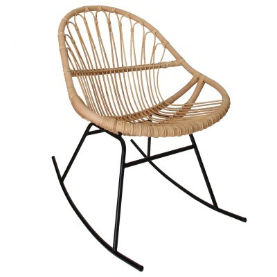 Cadeira de baloiço em vime natural