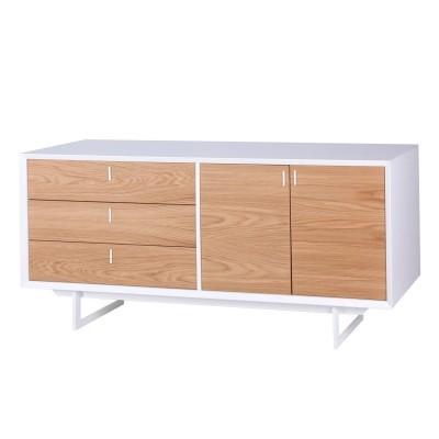 Aparador Porto, MDF lacado/madeira de carvalho, 165x45x76