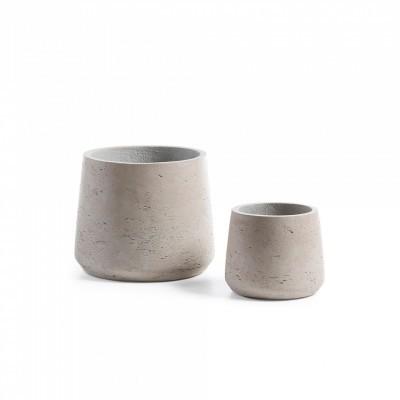 Vasos Livo, poli-cimento, cinza, (Conj.2)