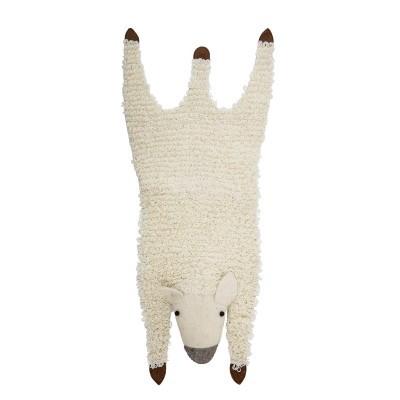 Tapete infantil ovelha, lã natural, 120x50