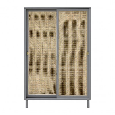 Armário Woody, madeira de manga/vime natural, cinza, 95x140