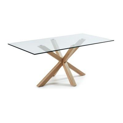 Mesa de jantar Arge, tampo em vidro, metal, 200x100