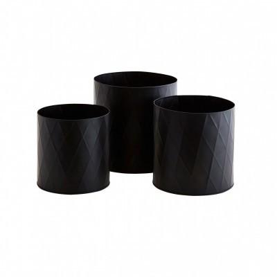 Vasos Arlenquim, metal, preto, (Conj.3)