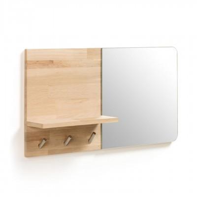 Espelho Matti, c/cabide, madeira de carvalho, 65x35