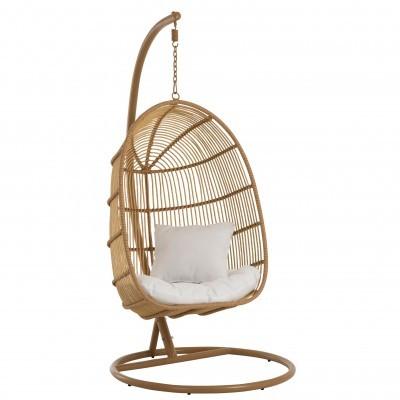 Cadeira suspensa c/base, metal/vime, castanho, 119x105x193