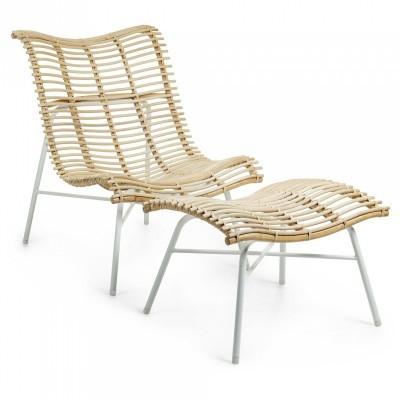 Cadeira Mediterran, c/repousa-pés, vime natural