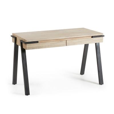 Secretária Tinn, madeira de acácia natural, 125x60x77