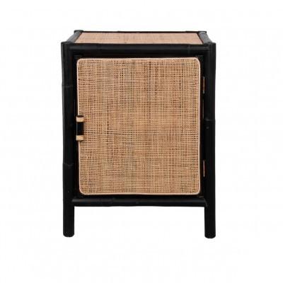Mesa de cabeceira Elod, bambu/malha rattan, preto, 50x65