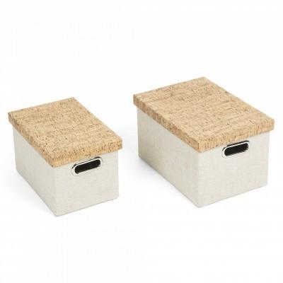 Caixas de arrumação Keli, algodão/cortiça, branco, (Conj.2)