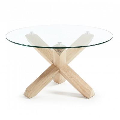 Mesa de centro Latus, vidro/madeira de carvalho, Ø65x45