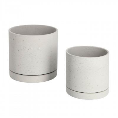 Vasos Kanti, c/prato, cimento, branco, (Conj.2)