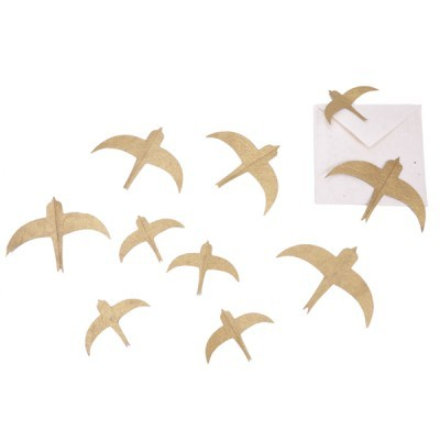 Andorinhas em papel Lokta, dourado