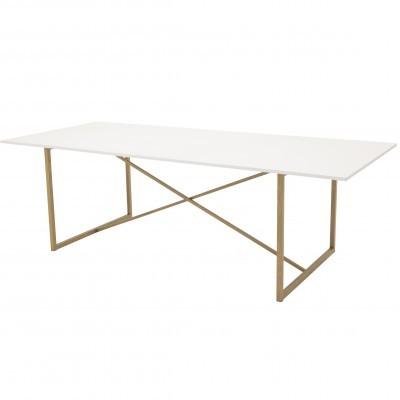 Mesa de jantar Palace, MDF/metal, branco, 240x100