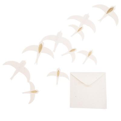 Andorinhas em papel Lokta, branco