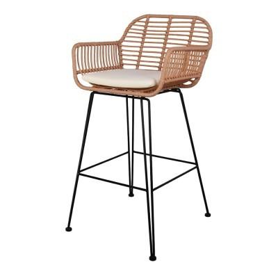 Cadeira de bar Otime, rattan sintético, 75cm