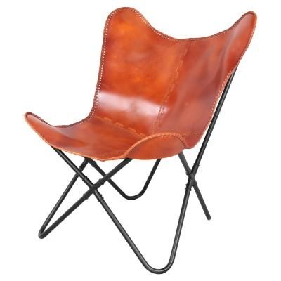 Cadeira Butterfly, couro natural, camel
