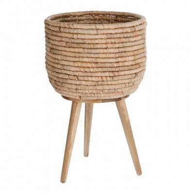 Vaso Colon, Jacinto de água/madeira de acácia, Ø34x55