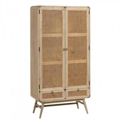 Armário Kalú, madeira de mindi/rattan, 90x175
