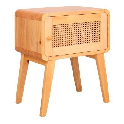 Mesa de cabeceira Mutto, madeira de pinho/vime, 50x35x69