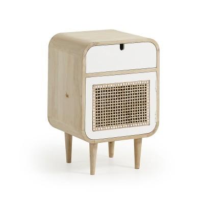Mesa de cabeceira Geo, madeira de manga/vime, 40x60