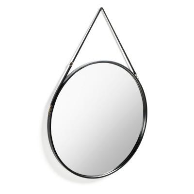Espelho Rainn, madeira/couro, preto, Ø80cm