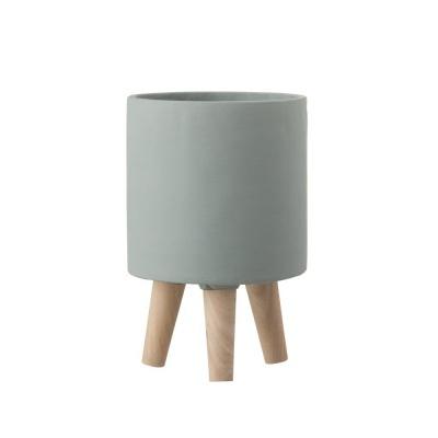 Vaso Poti, cimento/madeira, cinza, Ø16x25