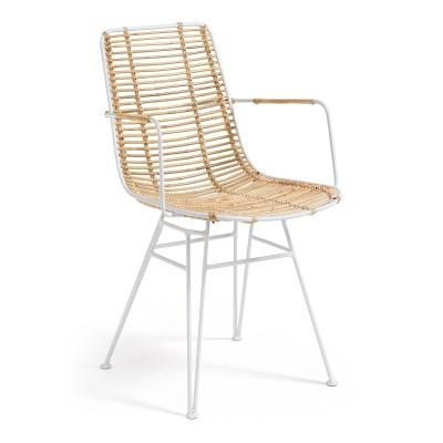 Cadeira Thisa, c/braços, vime natural/metal, 51x58x79