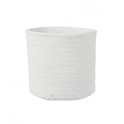Vaso Wove, cimento, branco, Ø25x23