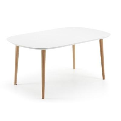 Mesa extensível Oki, oval, madeira faia/MDF lacado, 160(260)x100