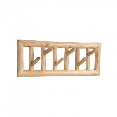Cabide de parede Thina, madeira teca, 60x10x20