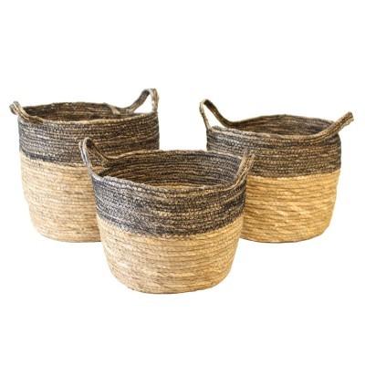 Cestas c/alças, seagrass, preto, (Conj.3)