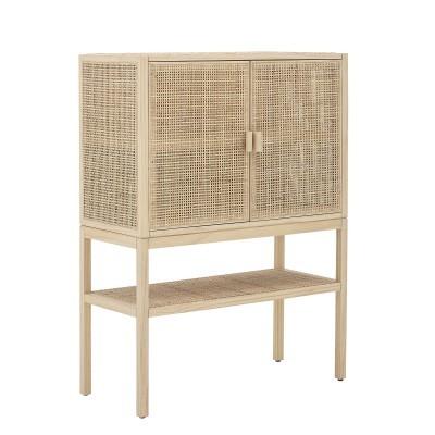 Armário Sanna, madeira de pinho/rattan natural, 90x120