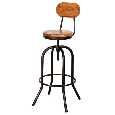 Cadeira de bar Sticker, regulável, metal/madeira carvalho