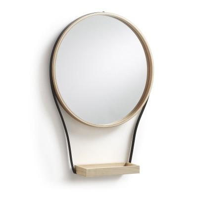 Espelho c/estante, madeira/metal, Ø45x64