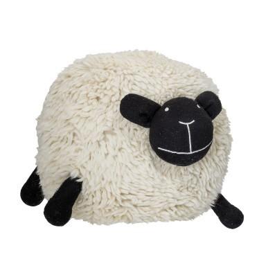 Pufe ovelha branca, lã/algodão