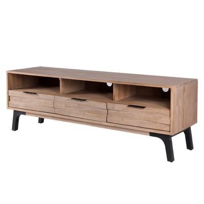 Móvel TV Amsterdam, madeira de acácia natural, 165x45x55