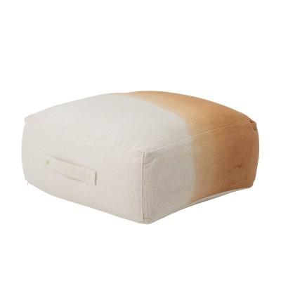 Pufe Khore, algodão, branco/camel, 60x60x25