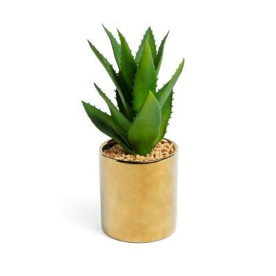 Agave artificial, vaso de cerâmica, dourado, Ø11x20