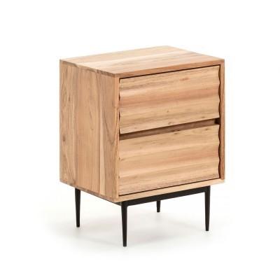 Mesa de cabeceira Delie, madeira de acácia natural, 40x55