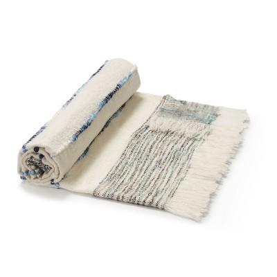 Manta Izel, c/franjas, branco/azul, 170x130