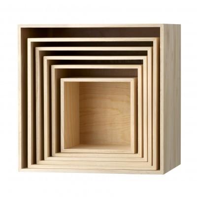 Estante, caixas de arrumação, madeira Paulownia, (Conj.6)