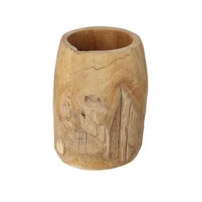 Vaso Oriel, madeira de teca natural, Ø35x40