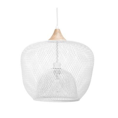 Candeeiro de tecto, metal/madeira, branco, Ø40x30