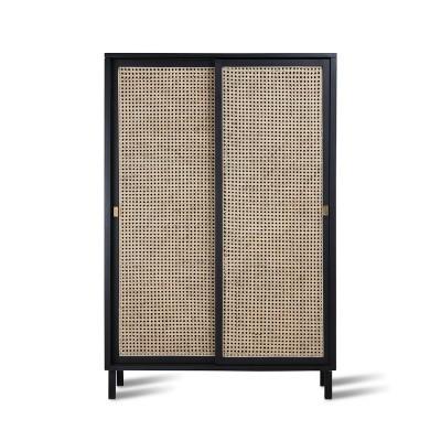 Armário Woo, madeira de manga/vime natural, preto, 95x140