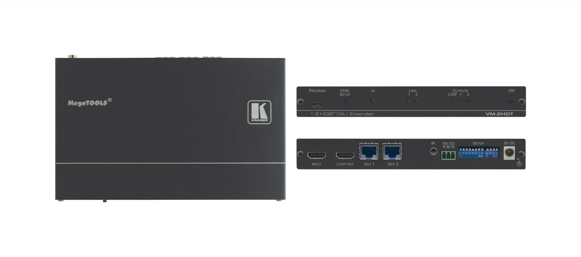 Kramer 1:2+1 4K60 4:2:0 HDMI long?reach HDBaseT extender- VM-2HDT