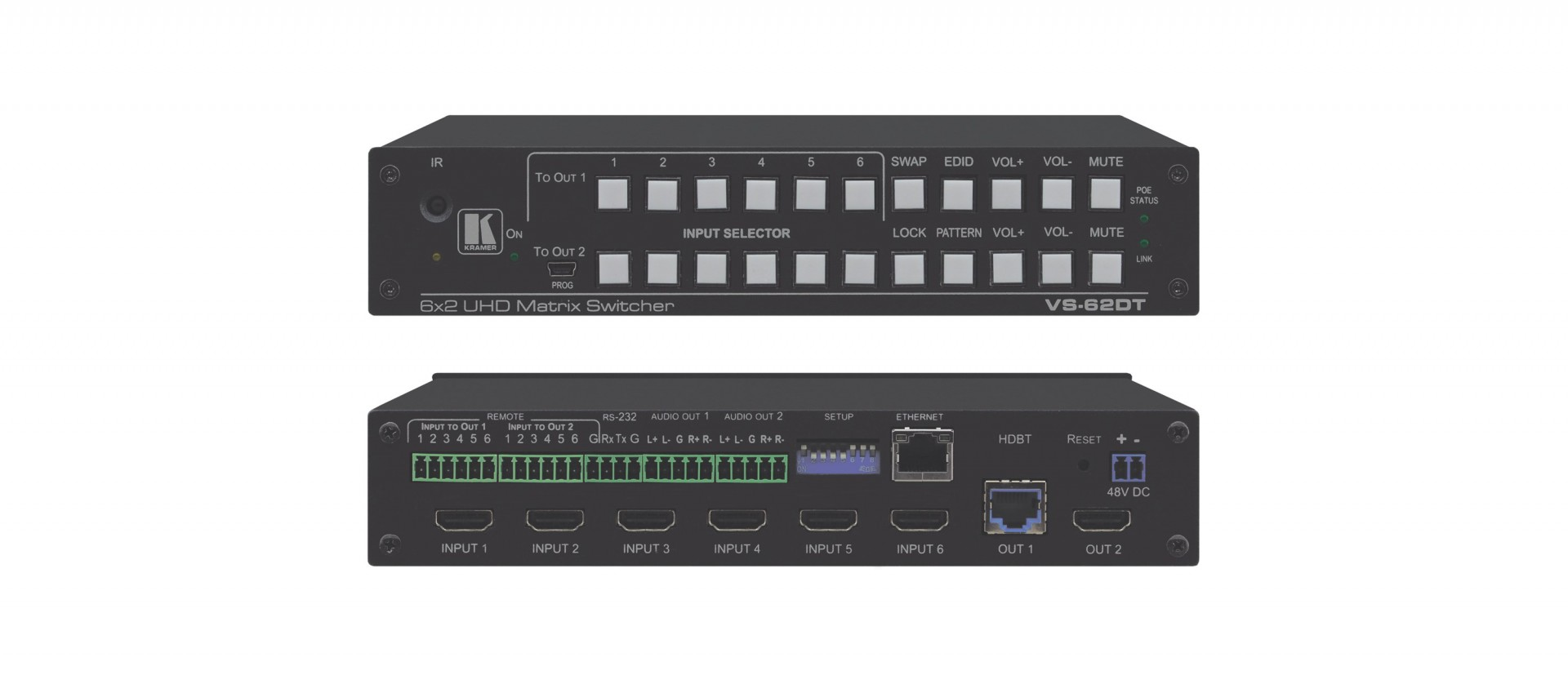 Kramer VS-62DT 6x2 4K60 4:2:0 HDMI/HDBaseT Long–Reach PoE Matrix Switcher