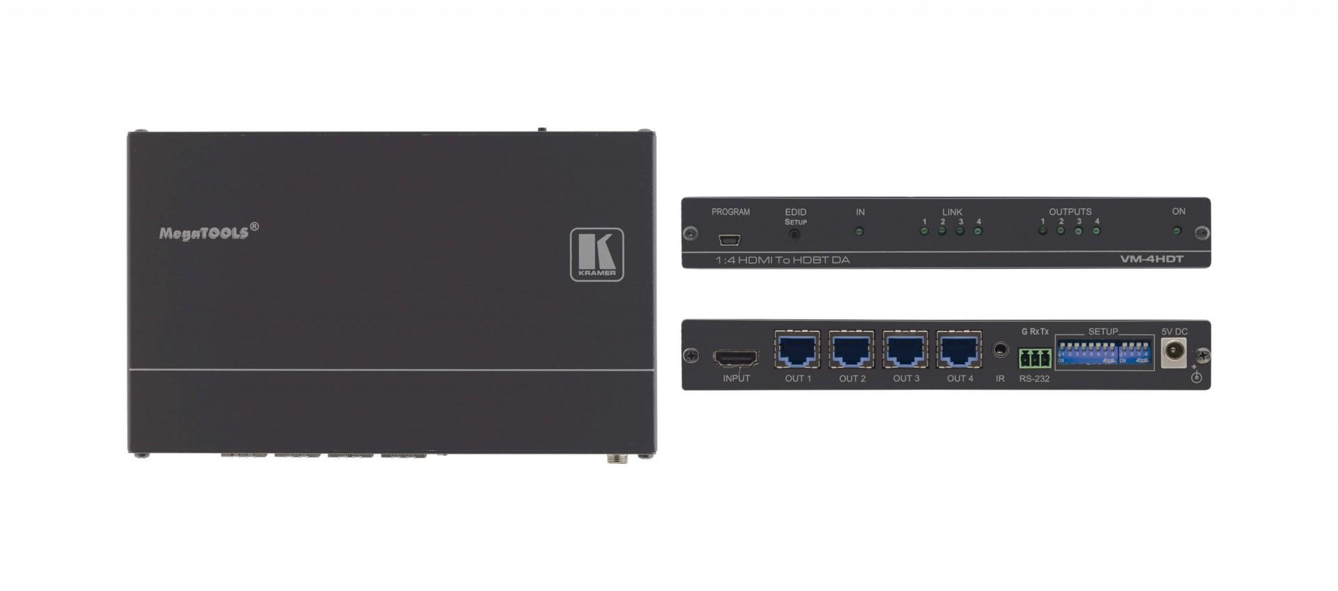 Kramer VM-4HDT 1:4 4K60 4:2:0 HDMI to Long–Reach HDBaseT distribution amplifier